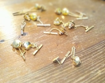 12 Sets - Gold Tone Tie Tacks (Spring Loaded Clutch and Chain)