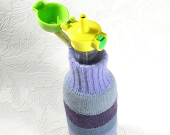 glass flip top straw sipper with cozy - half pint size