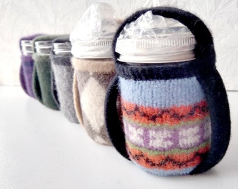 Canning Jar Sippy cup with 2 handled cozy - 8oz