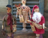 Primitive Christmas Pattern Holiday Ornies Simple Make Do 39 s Santa Snowman Raggedy Ann Goose Folk Art Let It Snow