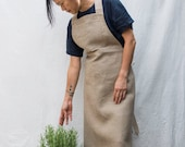 full apron with pocket in dark natural linen