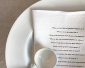proust questionnaire linen napkins ( white)