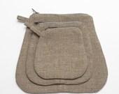 mini pouches (dark linen)