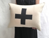 applique wool pillows- black and cream cross