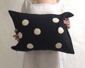 applique wool pillows- cream and black dots