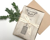 printed linen cooking tea towels- set of two- with drawn images of cooking utensils- natural or white linen- box set with ribbon