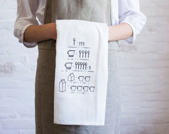 linen tea towel- conversion chart