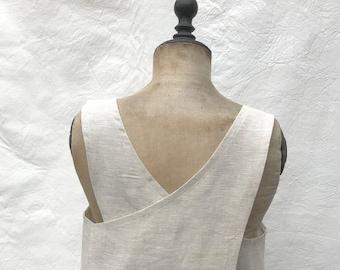 smock apron- cross back in oatmeal linen