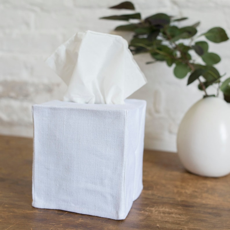 White linen tissue box slipcover