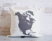 north american map pillow