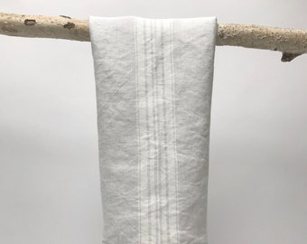 linen tea towel- stone washed stripe- grey