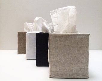 linen tissue box cover  100% woven linen with cotton muslin lining- square or rectangular in black, white, oatmeal or dark linen