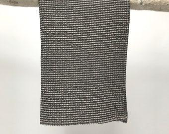 black linen waffle towel