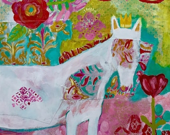 Mixed Media Horse Painting on Canvas