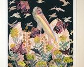 Pelican, Moths, and Yarrow - Archival Print