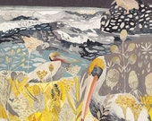 Winter Pelicans and Yarrow - Archival Print