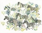 """Zebra Herd and Cactus - 8"""" x 10"""" Archival print"""