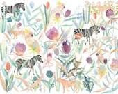 Zebras, Cheetahs, and Cockatoos- Archival Print