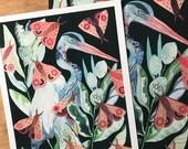 Heron, Milkweed, and Moths- Larger Archival Print
