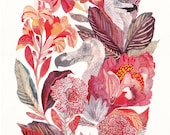 """Dodo and Canna Lilies - 11"""" x 14"""" and 16"""" x 20"""" Archival Print"""