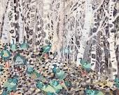 Winter Woods and Wild Turkeys-  Archival Print