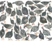 "Guinea Fowl Gathering- 8"" x 10"" archival print"