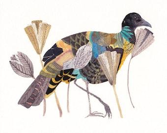 Wild Turkey and Flowers- Archival Print