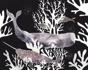 Two Whales and Coral - Archival Print