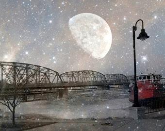 Digital Download Photography...A Door County Valentine...printable wall art..Sturgeon Bay...Historic Bridge..moon..stars..night sky..boat