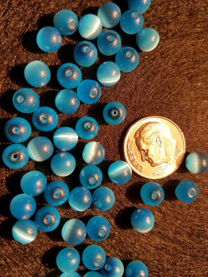 50 6mm AA Grade Caribbean Blue Cat/'s Eye Fiber Optic Round Beads