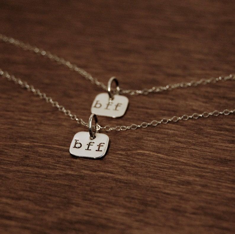 READY to SHIP BFF Sterling Silver Heart Necklace Best image 0