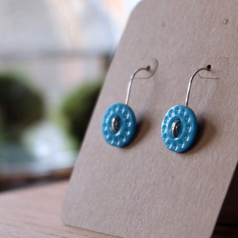 Adorable Blue Turquoise Vintage Button Earrings with Sterling image 0