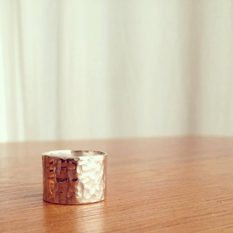 Wide Hammered Sterling Silver Ring Unisex Free Customization image 0