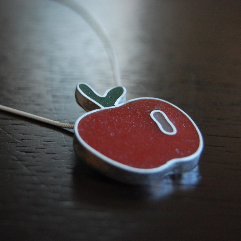 READY to SHIP: Sterling Silver  Resin Apple Necklace  image 0