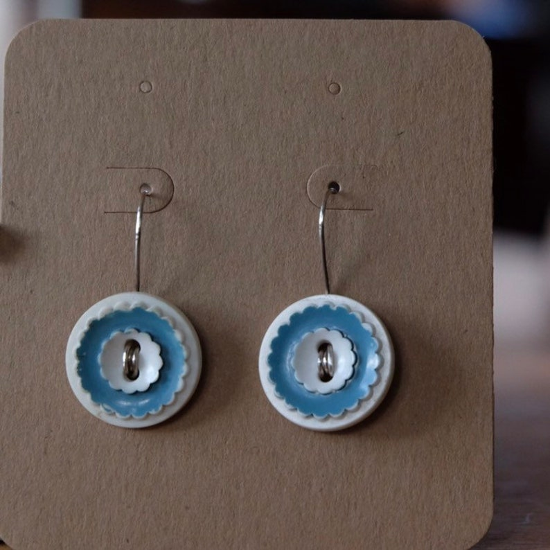 Scalloped Blue and White Vintage Button Earrings Handmade image 0
