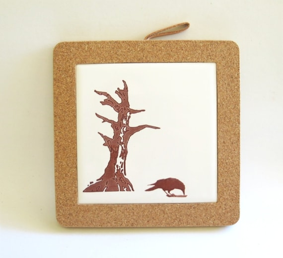 Home Decor Hostess Gifts: Crow And Old Dead Tree Coaster Home Decor Hostess Gift