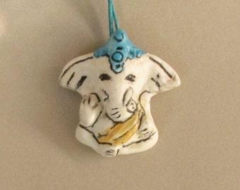 Ganesh Ganesha Pendant Ceramic White Elephant Necklace