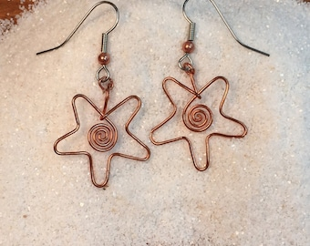 Star form Copper Wire Earrings