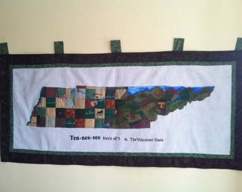 Quilted and felted wall hanging of Tennessee