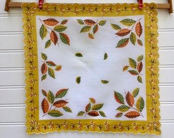 Vintage Autumn Leaves Hanky, Midcentury Scalloped Hanky, Yellow, Green and Orange Leaves, Acorns, Pine Cones