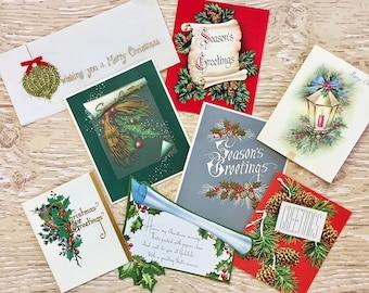 8 Vintage Greenery Christmas Cards, Christmas Evergreens, Holly, Pine Cones, Lantern, 1940s-1960s Christmas Greenery Cards
