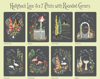 12 Hollyhock Lane Prints Reminiscent of the early twentieth century, 1930s Style, 1920s Style, Arts and Crafts, Paint by Number Style