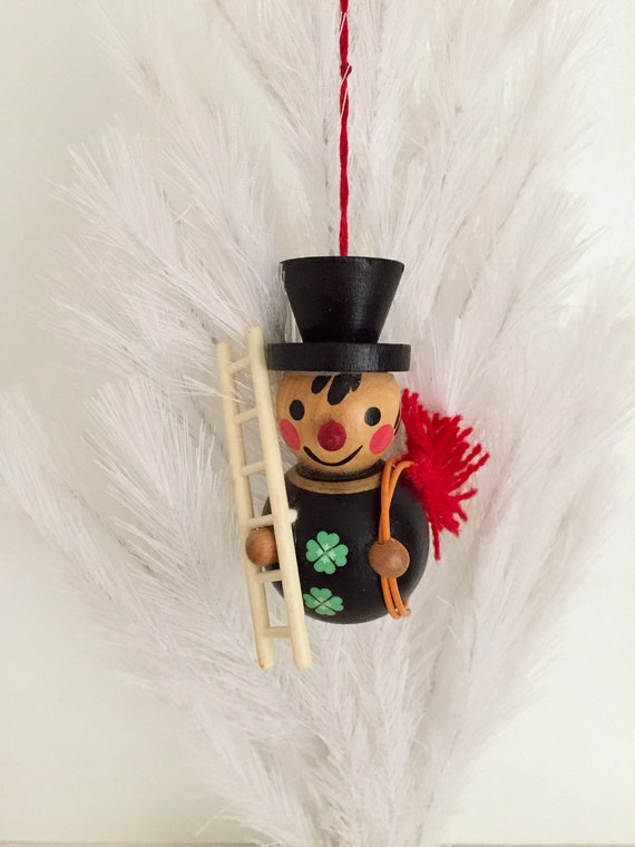 Vintage Wooden Christmas Ornament of Chimney Sweep Snowman Dressed in Black with Two Four-Leaf Clovers, German Wooden Ornament