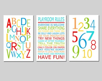 Playroom Decor Playroom Wall Art Playroom Art Playroom Prints Playroom Rules Print Alphabet Numbers Set of 3 Prints - CHOOSE YOUR COLORS  sc 1 st  Etsy & Playroom wall art | Etsy
