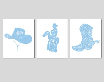 5271ded0dc9 Country Western Wild West - Set of Three 8x10 Nursery Childrens Prints - Cowboy  Hat