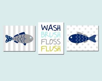 Fish Bathroom Decor Fish Bathroom Art Fish Wall Art Kids Bathroom Decor  Kids Bathroom Art Wash Brush Floss Flush Bathroom Sign Set Of 3