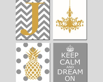 Teen Room Decor Teen Wall Art Teen Bedroom Art Teen Decor Dorm Decor Girl  Wall Art Gold Pineapple Art   Set Of 4 Prints   CHOOSE YOUR COLORS