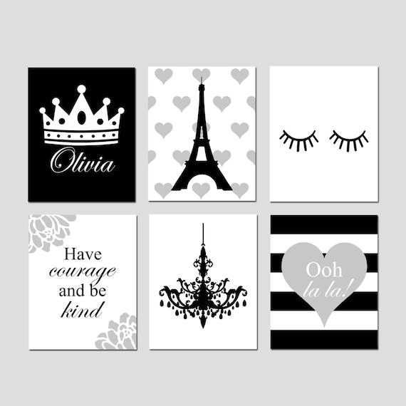 Girl Room Decor Paris Room Decor Girl Wall Art Girl Bedroom Decor Tween Room Decor Black And White Set Of 6 Prints Choose Your Colors