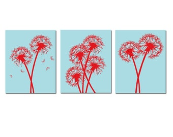 Dandelion Floral Art Trio - Set of Three Dandelion Floral 8x10 Coordinating Prints - Choose Your Colors - Shown in Red and Aqua Blue
