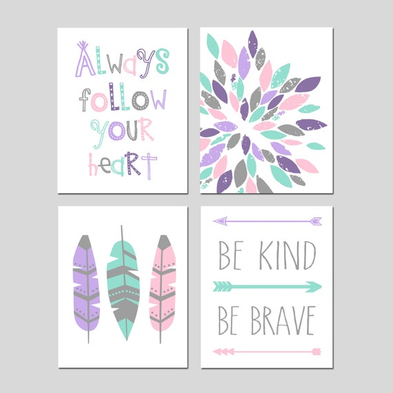 Teen Girl Room Decor Girls Wall Art Tween Room Decor Teen Wall Decor Girls  Bedroom Decor Teen Room Art Set of 4 Prints or Set of Four Canvas